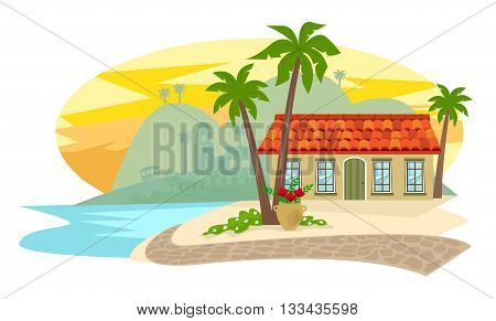 Spanish style inn with palm trees, brick road and silhouette of a town in the background. Eps10