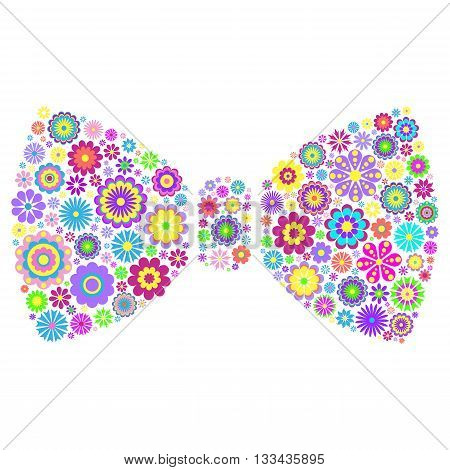 Vector illustration of colorful  floral bow tie on white background