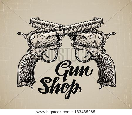 Crossed Pistols. Hand drawn sketch Gun. Vector illustration