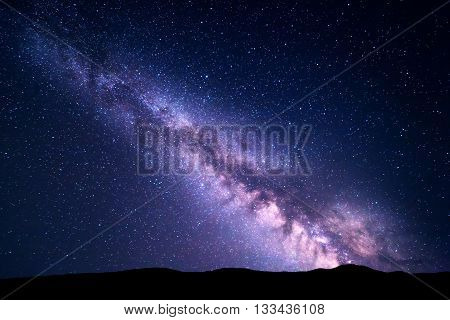 Landscape With Milky Way. Night Starry Sky. Universe