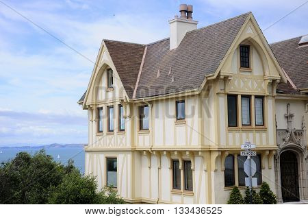 A victorian style home on the corner of Hyde and Francisco overlooking the san francisco bay in San Francisco California.