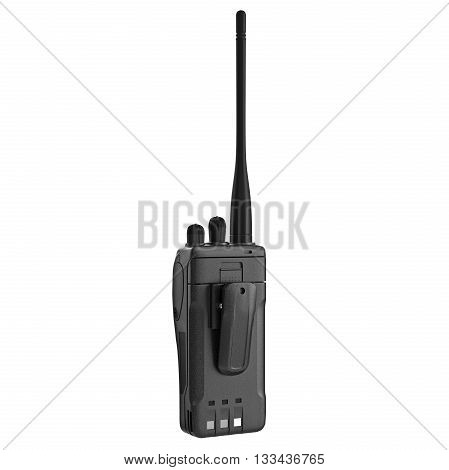 Black portable radio mobile telephone with antenna. 3D graphic
