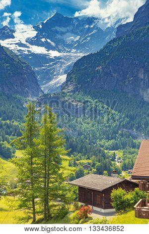 Panoramic View On Switzerland Mountain Landscape