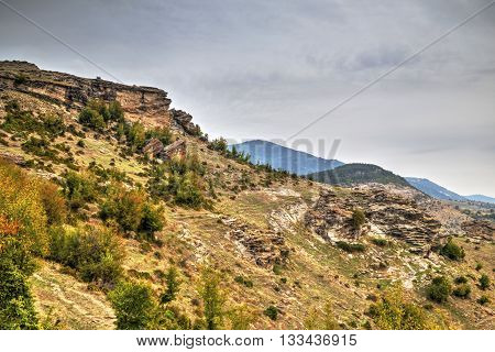 Beautiful mountain landscape with phenomenon rock formations