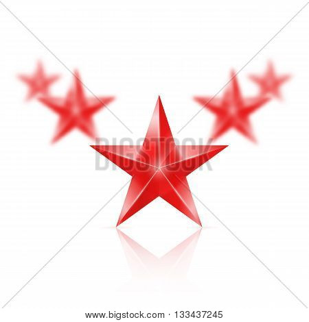 Five red stars on white background - the first one in focus the others blurry.