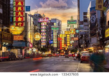 BANGKOK - JUNE 9: The China Town at Yaowarat Road. Attractive light at night, Thailand on June 9, 2014.
