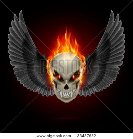 Mutant skull with long fangs orange flame and black wings