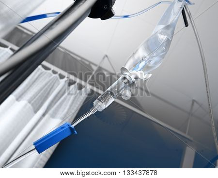 IV drip hanging on the rack. Medical background