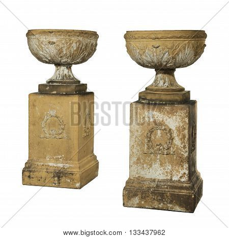 Old vintage terracotta garden urns isolated with clip path