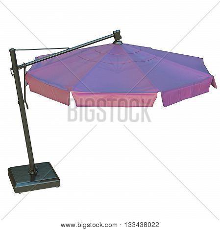 Purple patio umbrella, sunshade for relax. 3D graphic