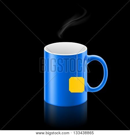 Blue cup of something with teabag stay