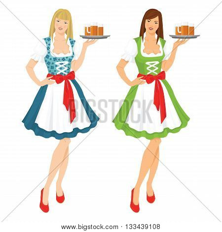 Vector illustration of pretty girl in german traditional dress with beer isolated on white background