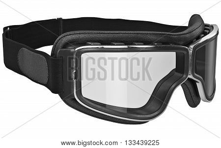 Black leather retro goggles with chrome inserts. 3D graphic