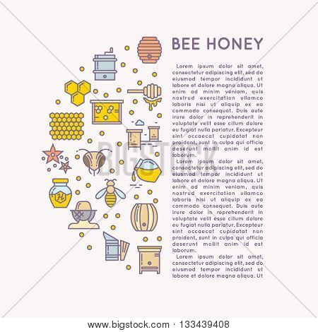 Posters with the tool for beekeepers. The background for the sale of honey. Tools of the beekeeper. The stickers on the products of the apiary. Vector honey icon set.