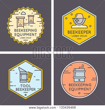 Modern linear logos for beekeepers. Logo for sale of honey. Tools of the beekeeper. The stickers on the products of the apiary. A set of stylish logos vector bee honey.