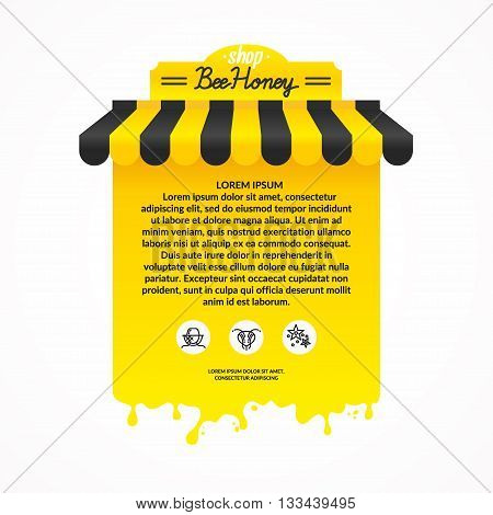 Illustration of a stall for street trading in products of beekeeping. Sale of honey and apiary tools. Background for advertisement of honey and bee products. A poster for the shop or site.