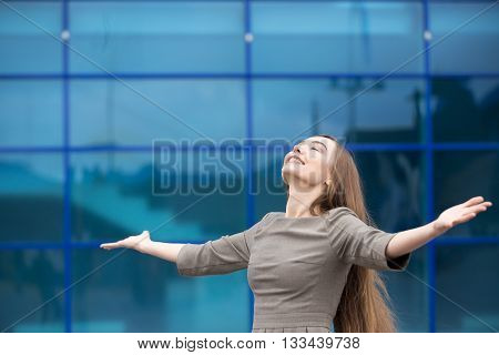 Portrait Of Business Woman Feeling Happy With Open Arms. Copy Space