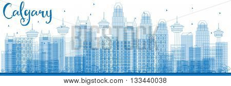 Outline Calgary Skyline with Blue Buildings. Business travel and tourism concept with modern buildings. Image for presentation, banner, placard and web site.