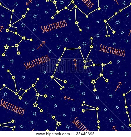 Seamless vector pattern. Background with the image of constellation Sagittarius zodiac sign on a dark blue background with blue stars. Pattern for design packaging, design brochures,