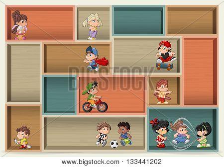 Colorful wood shelf with cute happy cartoon kids playing.