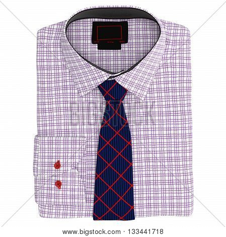 Classic men's shirt and tie, top view. 3D graphic