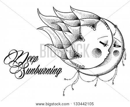 Bohemian Sun and Moon. Editable vector illustration.