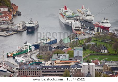 NORWAY, BERGEN -15 MAY 2012: View of  Vagen bay in the centre of the city of Bergen in Hordaland county, 15 may 2012, Bergen, Norway