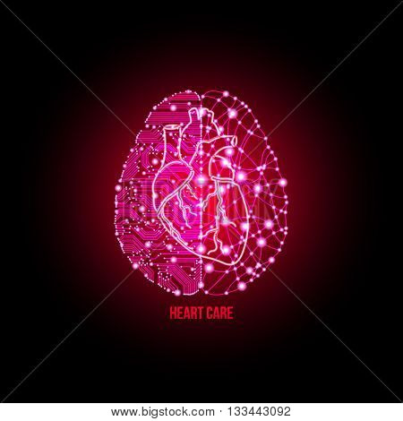 Cold analysis and bursting creativity paired together in cardiology clinic and heart care concept. Analytical brain. Creative brain. Creative thinking. Hearh care. Cardiology concept.