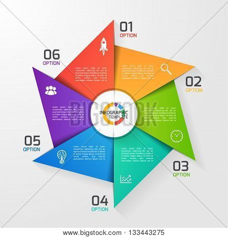 Windmill style circle infographic template for graphs charts diagrams. Business education and industry concept with 6 options parts steps processes.