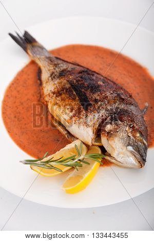 Roasted Sea Bream in tomatoes sauce. Shot from above.
