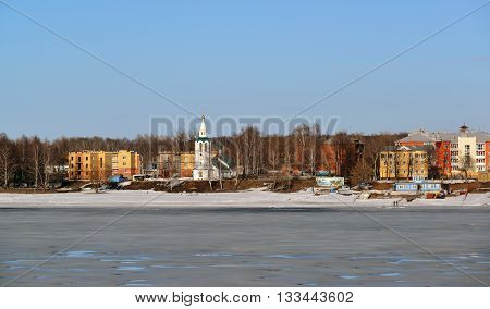 Russia, Yaroslavl-March 31.2016. View of the embankment Tveritskaya from the Volga River