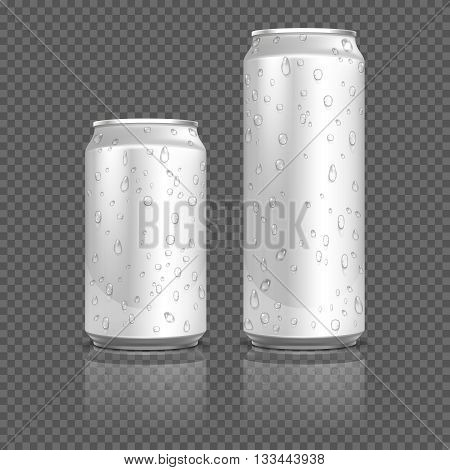 Realistic aluminum cans with water drops. Container bank metal for beverage, aluminum container with liquid. Stock vector illustration
