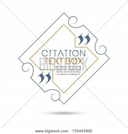 Set of the citation text box. Frame for decoration quote.