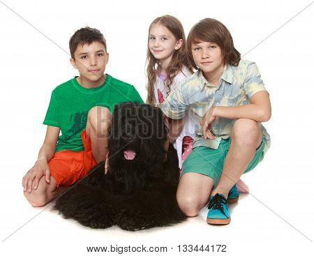Three children playing with a big black dog-Isolated on white background