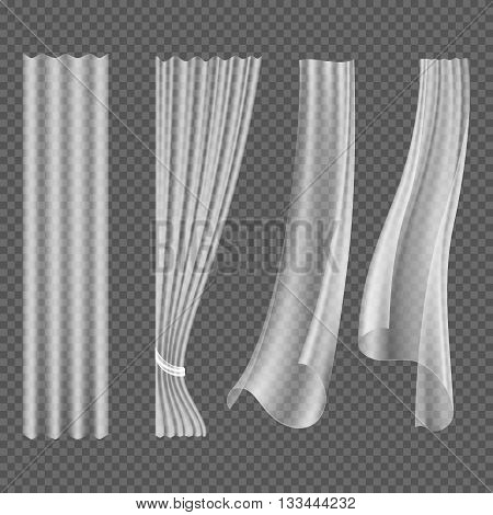 Transparent white fluttering curtains, hanging window decoration vector set. Textile curtain and curve wave drapery, curtain isolated illustration
