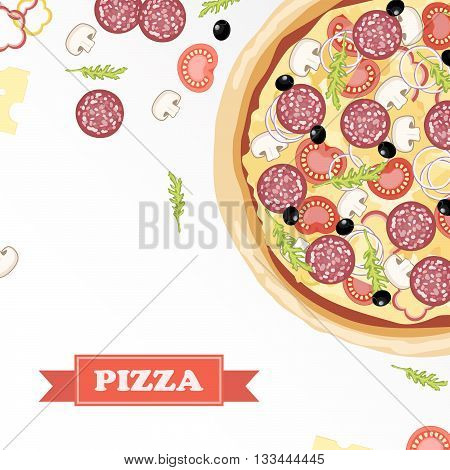 Pizza ingredients parts on chalkboard. Pizza with signed ingredients. Set food Pizza