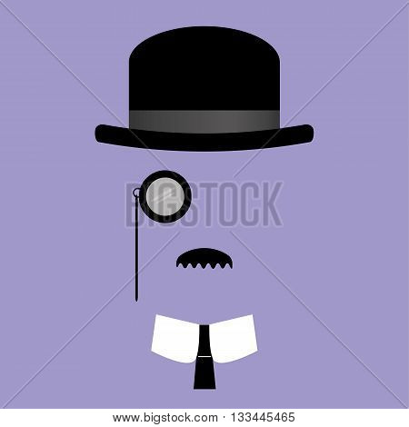 Vector illustration of facial features comprising of bowler hat,monocle,moustache with collar and tie