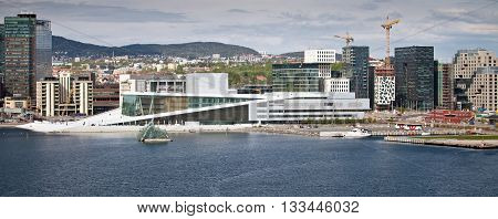 OSLO, NORWAY - MAY 15, 2012: View of central part of Oslo with Opera house