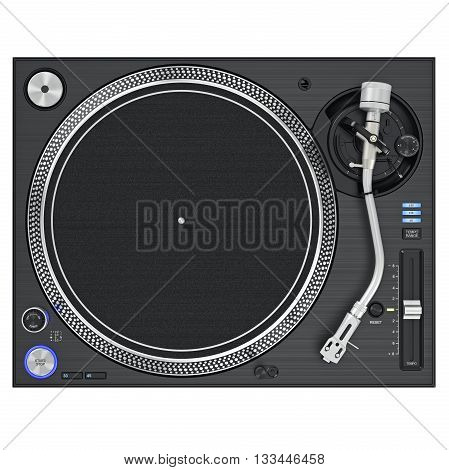 Dj turntable mixer equipment with chrome elements, top view. 3D graphic