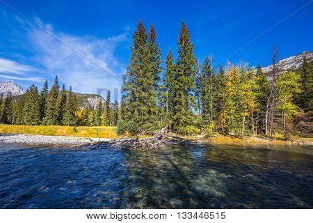 Rocky Mountains, Canada. Mountain valley and beneaped river near the town of Banff