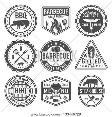 Barbecue black white emblems with sausage on fork roasted meat grilled fish knives spatula isolated vector illustration