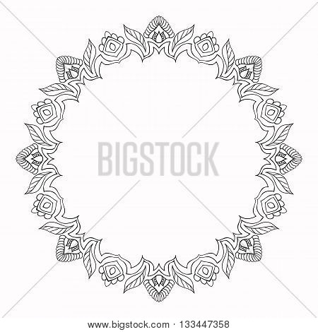Round frame made of floral elements. Mandala border.