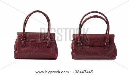 Set of Vinous leather Female bag isolated over the white background