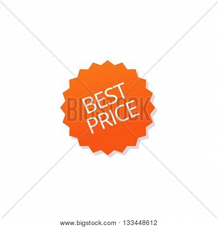 Best price badge vector tag isolated on white, flat orange best price sticker icon