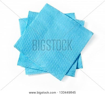blue napkin isolated on white background with clipping path