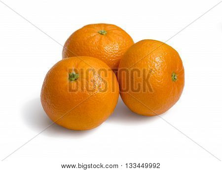 Fresh ecological clementines on a white background with clipping path