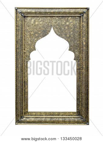 Old metallic picture frame isolated on white background with clipping path