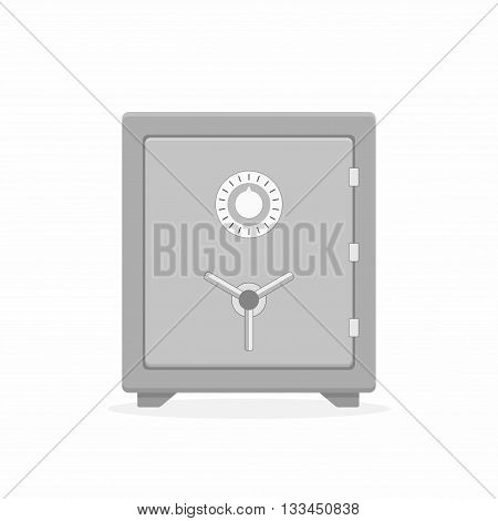 Safe vector icon in a flat style. Safe metal box money secure and safe money concept symbol. Security finance steel safe treasure storage. Closed safe isolated on a white background