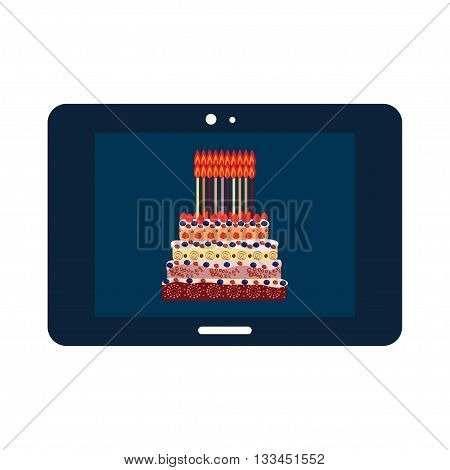Birthday cake with twenty candles. Twenty years. A cake with candles for his birthday. Holidays and celebrations