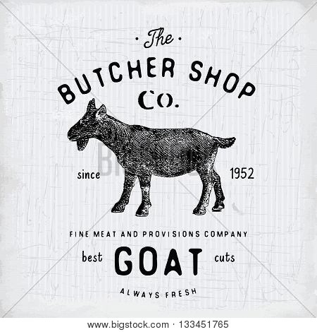 Butcher Shop Vintage Emblem Goat Meat Products, Butchery Logo Template Retro Style. Vintage Design F